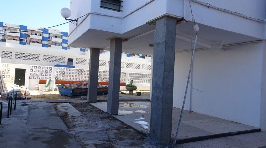 Reparación de pilares de edificio plurifamiliar